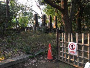 猫地帯の法明寺(ほうみょうじ)の墓石