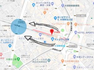 大塚駅の空蝉橋の地図