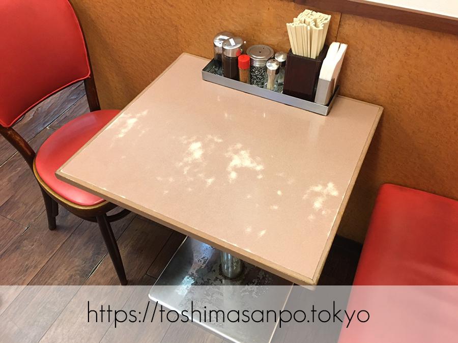 【池袋駅】街の洋食屋さんここにも発見!安うま「ランチハウスミトヤ」のテーブル