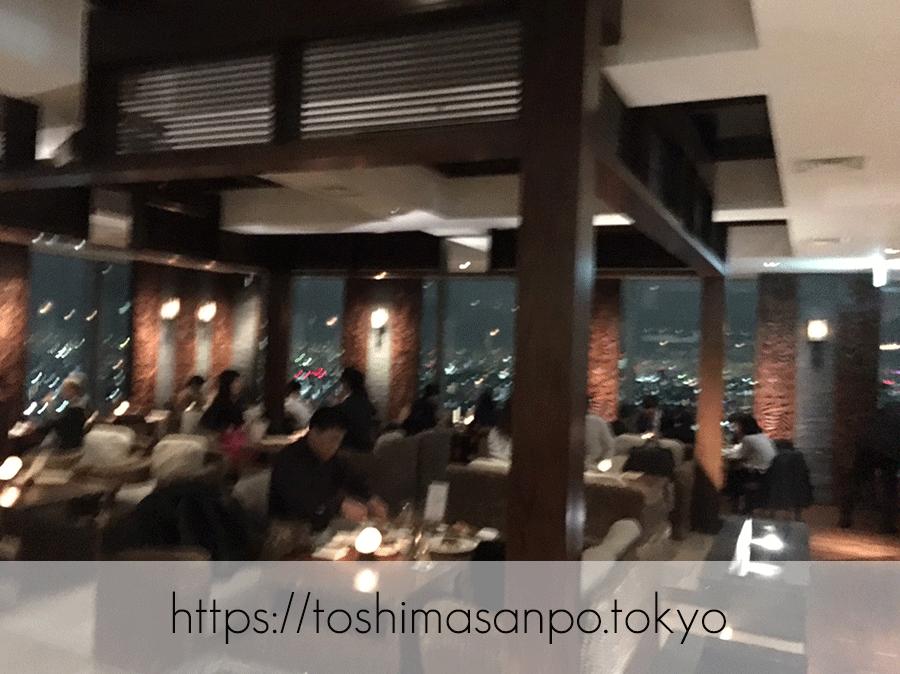 【池袋駅】59Fの夜景!ハワイアン「ジンジャーズビーチ サンシャイン」の店内