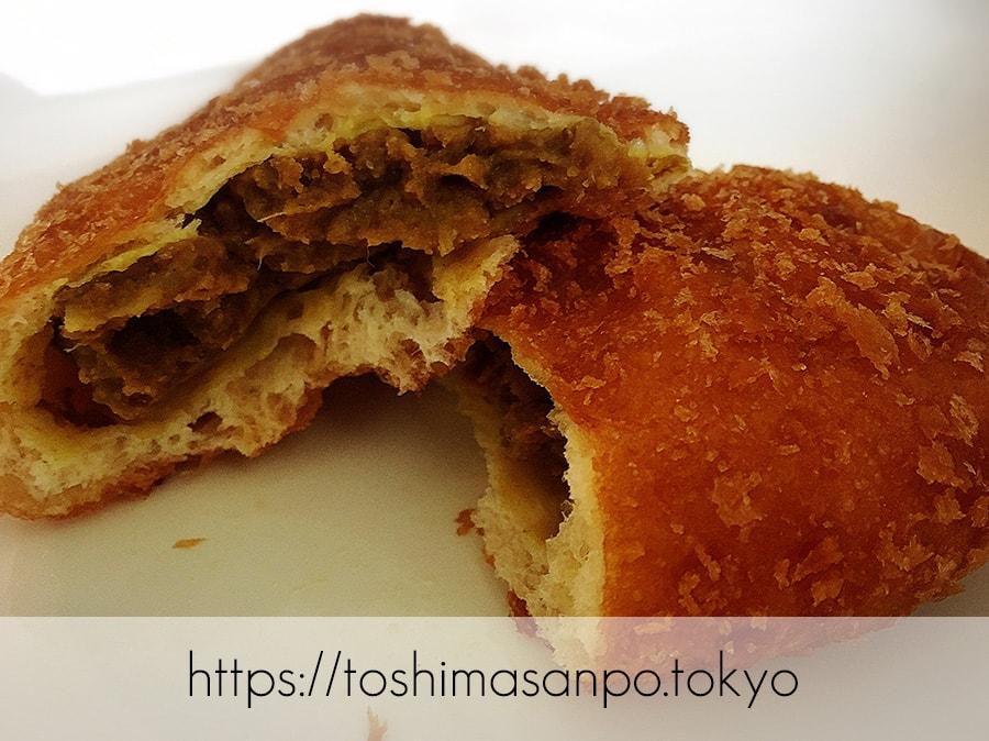 【向原駅】惣菜パン・菓子パン種類いっぱい!早朝開店アットホームな「大松ベーカリー」のカレーパンのズーム