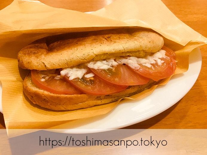 【池袋駅】タピオカ粉の創作パンはもちもち食感。意外とめっちゃお腹いっぱいに!「ぽんでCOFFEE」のぽんでサンドのフレッシュトマトとペコリーノ